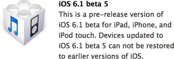Разработчики получили iOS 6.1 beta 5