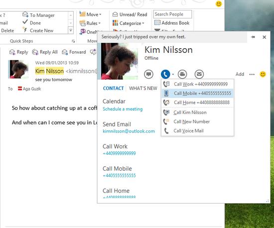 Skype 6.1 тесно интегрирован с Outlook