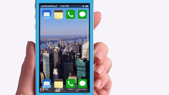 Концепт iOS 7 с панорамными обоями и «плоским» дизайном