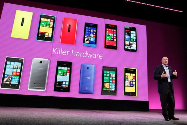 Глава Microsoft Стив Балмер (Steve Ballmer) во время анонса Windows Phone 8 в Сан-Франциско 29 октября 2012 года