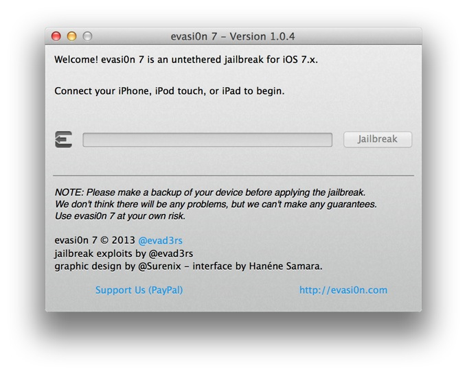 evasi0n7 1.0.4. Серьезное обновление утилиты для джейлбрейка iOS 7