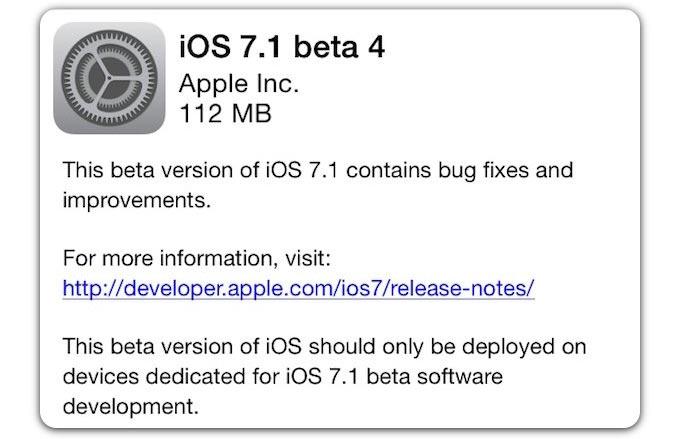Вышла iOS 7.1 beta 4. Еще немного косметических изменений