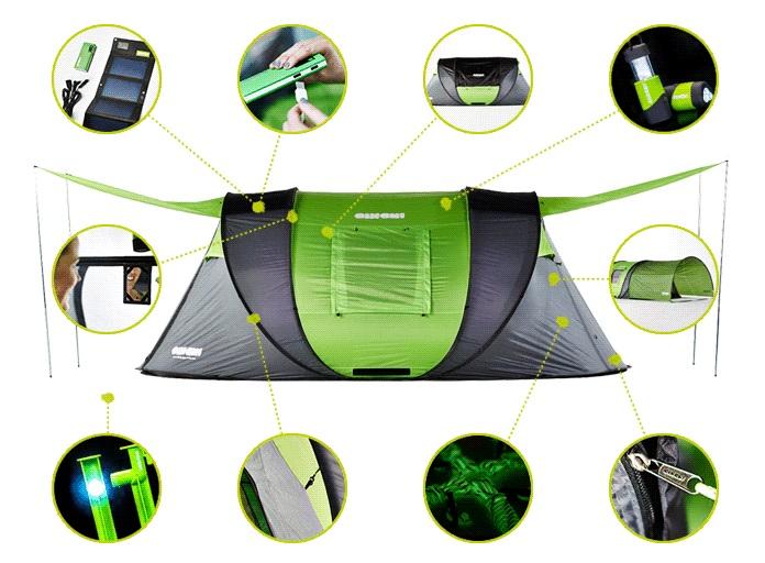 Самораскрывающаяся палатка с солнечной батареей достигла цели на Kickstarter за 15 минут